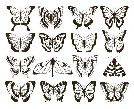 Monochrome Schmetterlinge. Schwarz-Weiß-Zeichnung, handgezeichnete Tätowierung formt Vintage-Kollektion. Vektorschmetterling isoliertes Set