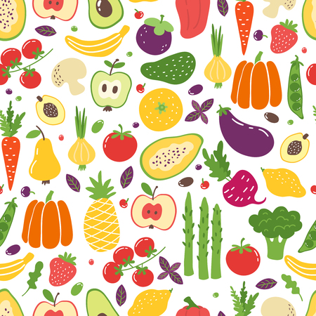 Flat vegetables seamless pattern. Hand drawn colorful fruits, organic natural vegetarian food. Vector doodle vegetables and fruits Ilustrace