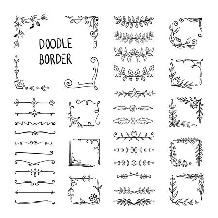 Frontera de Doodle. Marco de adorno de flores, elementos de esquina decorativos dibujados a mano, patrón de dibujo floral. Elementos de marco de vector doodle