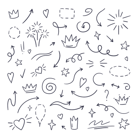 Doodle line swash. Emphasis text highlighters, hand drawn brush stroke, calligraphy underline. Vector hand drawn set