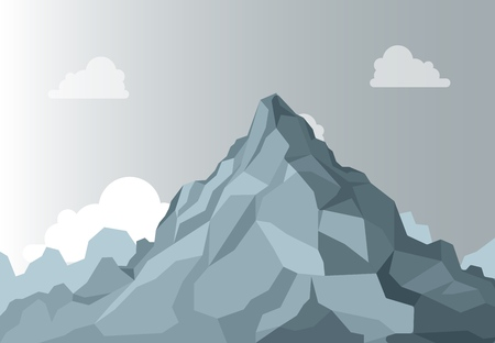 Mountain landscape. Alpine Mountain graphic top, high shape stone on background sky. Vector Isolated Landscape
