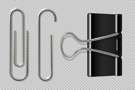 Paper clips. Realistic binder, paper holder isolated on white background, macro metal notebook fasteners. Vector paper clip set