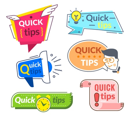 Quick tip labels. Tips and tricks suggestion, quickly help advice. Helpful service vector banners set