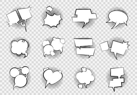 Bulles de dialogue comiques. Dessin animé chat ballon boom splash art vide blanc dialogue bulle parler forme dessin rétro. Jeu de bulles de bandes dessinées vectorielles