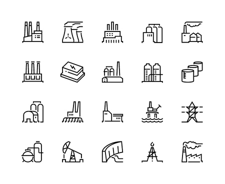 Factory line icons. Industry power, chemical manufacturing building warehouse nuclear energy plant. Industrial factories vector set Vectores