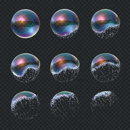 La bulle de savon explose. Explosion de sphère d'eau réaliste, reflets bleus transparents isolés ballon de mousse de savon. Boule 3d qui explose de vecteur Vecteurs