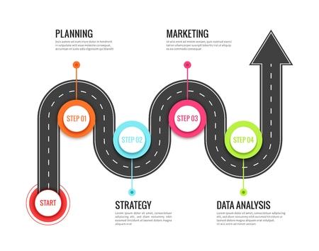 Infografik zur Straßenfahrt. Reiserichtungskarte kurvenreiche Straße, Reise zum Erfolg. Fußweg Weg Vektorkonzept Vektorgrafik