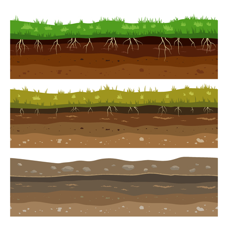 Soil ground layers. Seamless campo ground dirt clay surface texture with stones and grass. Vector set Ilustração
