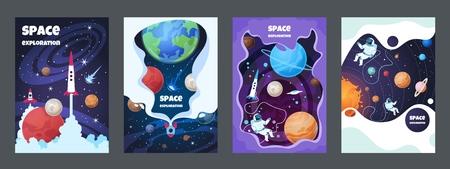 Dépliant de l'espace de dessin animé. Univers galaxie bannière planète science affiche astronaute affiche cadre brochure couverture design. Ensemble de concept d'espace vectoriel Vecteurs