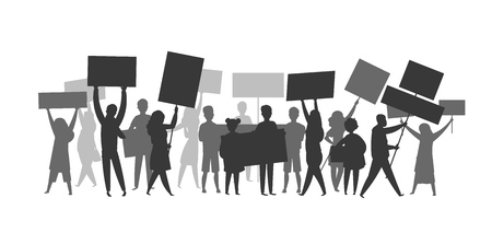 Revolution crowd silhouette. Protest flags propaganda demonstration audience football soccer fans Vector protesting strike people silhouettes Ilustracja