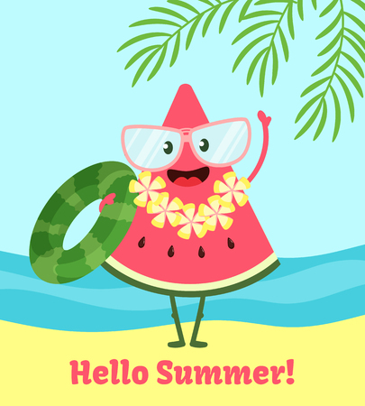 Watermelon summer poster. Poster design with vector watermelon character, funny happ background