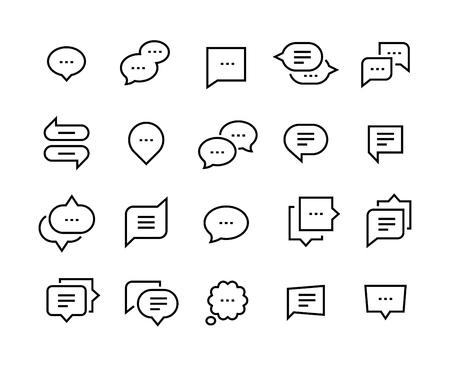 Speech bubble line icons. Talk chat thin conversation dialog symbols, voice message comic cloud. Vector social communication icon set