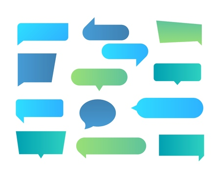Thought shapes. Text chat speech rectangular bubbles, conversation talk shape, dialog flat shape. Vector text bubbles gradient set