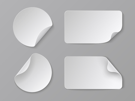 Realistic paper stickers. White adhesive round and rectangular price tags, blank fold corner paper mockup. Vector cardboard labels set