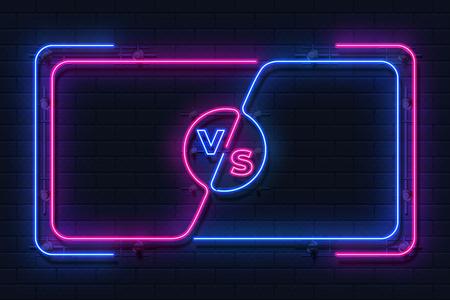 Neon gegen Banner. Spielkampf leuchtender Rahmen, Boxkampf-Bildschirm, Umrisskonzept für Sportwettbewerbe. Vektor vs. Kampfbildschirm Vektorgrafik