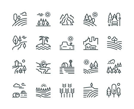Landscape line icons. Nature park mountain hill forest trees and countryside garden, industrial megapolis cityscape vector pictograms set