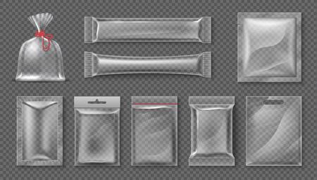 Pacchetto di plastica. Modello realistico di borsa trasparente, set di confezioni di prodotti alimentari trasparenti 3d, foglio lucido vuoto. Set di contenitori per snack caramelle vettoriali