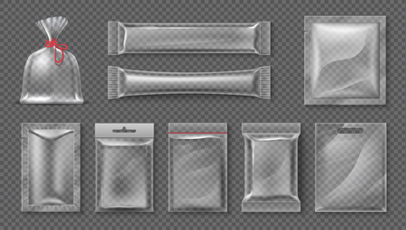 Plastic package. Realistic clear bag mockup, 3d transparent food product pack set, blank glossy foil. Vector candy snack container set