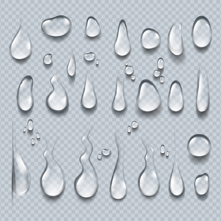Realistic water drops. 3D transparent condensation droplets, bubble collection on clear surface. Rain drops vector set