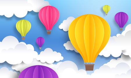 Paper cut balloons. Sky pastel background, cute origami cartoon graphic, flight voyage concept. Vector paper landscape art design template Illustration