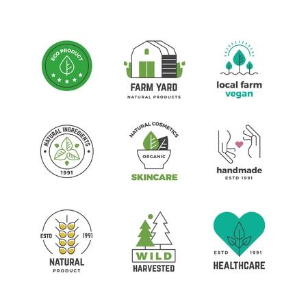 Icona di linea organica. Etichetta del negozio vegano verde, timbro vegetariano di piante naturali, design adesivo del menu del ristorante. Set di distintivi ecologici vettoriali