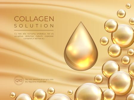 Sfondo di collagene. Banner pubblicitario per la cura della pelle cosmetica, essenza di bellezza e concetto di maschera facciale di lusso. Modello di gocce di siero di collagene vettoriale
