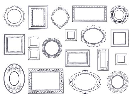 Doodle frames. Square hand draw borders, pencil circle line, round curved frames, kids pen drawings. Vector underline doodle set Vetores