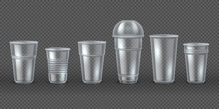 Plastic cups. Disposal coffee drink mugs isolated mockup, realistic 3D packaging for food and beverages. Vector disposable tableware set Illustration