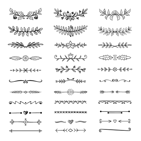 Doodle dividers. Hand drawn line borders and laurels, ornamental decorative frame, nature floral arrow sketch. Vector divider set Ilustração