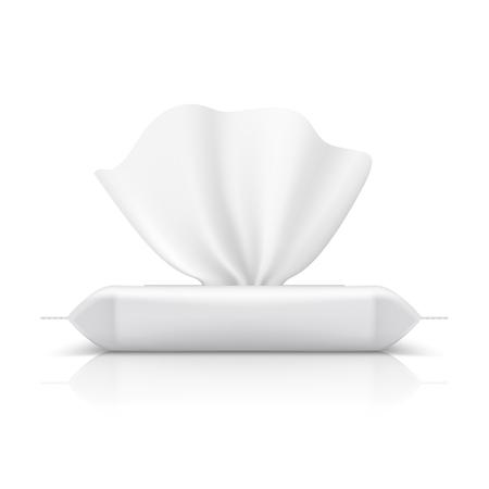 Pack de flux de lingettes humides. Emballage réaliste de tissu pour bébé produit de maquillage blanc emballage en plastique de serviette blanche. Modèle vectoriel de pack de flux Vecteurs