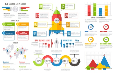Infographics report. Financial charts diagrams bar chart graph business user interface design vector presentation infographic template set Çizim