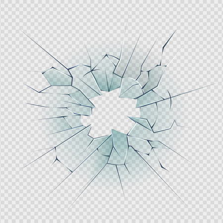 Broken glass. Cracked window texture realistic destruction hole in transparent damaged glass. Vector realistic shattered glass template