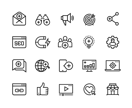 Inbound marketing line icons. Lead social media, action marketing influence and target audience attraction. Marketing vector symbols set