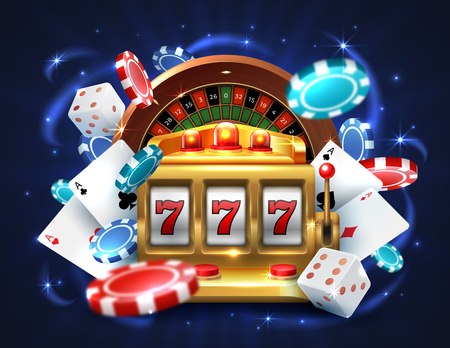 Casino 777 slot machine. Gambling roulette background big lucky prize, realistic 3D vector roulette and golden sloth machine
