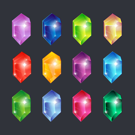 Magic gems. Gem stones jewels diamonds gemstone emerald ruby sapphire glance clear glass brilliant isolated vector cartoon icons set