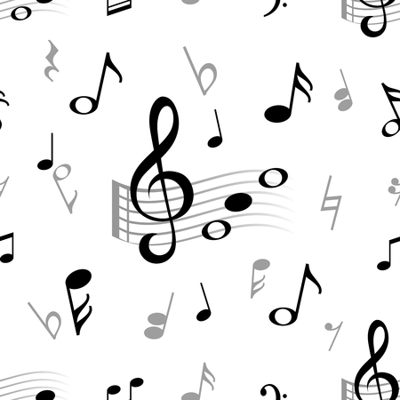 Music note seamless. Abstract musical note treble clef harmony stave classical music choir jazz vector vintage pattern texture