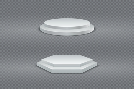 Podium 3D. White round and hexagonal two-stage podium, pedestal or platform on transparent background set