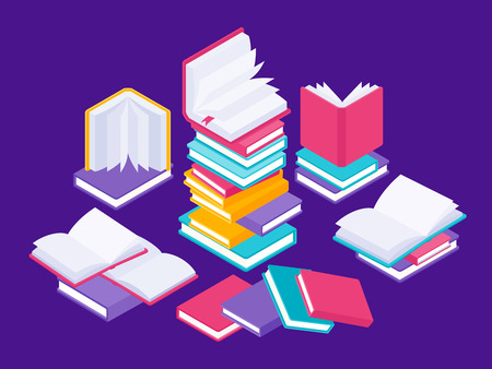 Flat books concept. Literature school course, university education and tutorials library illustration. Vector group data of books in stack
