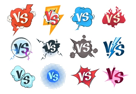 Comic versus icon. VS pop art retro game concept, cartoon fight bubble template, boxing competition. Vector versus challenge set Illustration