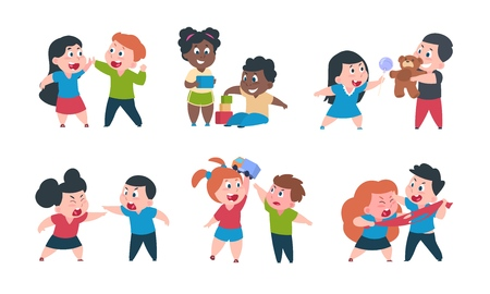 Kids behavior. Cartoon brother and sister fight cray play, cute little boy girl happy characters. Vector funny best friend children set