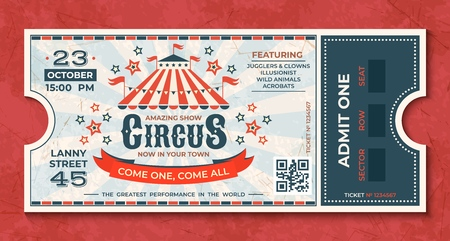 Circus tickets. Vintage carnival event banner, retro luxury coupon with marquee and party announcement. Vector circus luxury greeting card Illustration