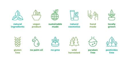 Distintivo della linea ecologica. Icona ecologica fatta a mano, cosmetici biologici naturali simboli alimentari vegani, vettore lineare senza glutine, nessun emblema OGM. Senza ingredienti tossici di qualità bio di bellezza