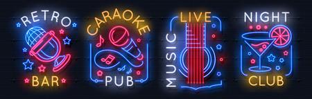 Neon music sign. Karaoke light logo, sound studio light emblem, night club graphic poster. Vector music bar neon label acoustic concert radio rock show entertainment