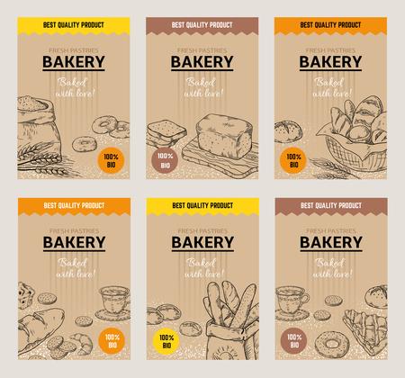 Affiches dessinées à la main de boulangerie. Modèle de conception de menu de pain vintage, croquis de gribouillis de biscuits sucrés et de tartes. Emballage traditionnel de boulangerie savoureuse de farine de blé biologique de vecteur Vecteurs