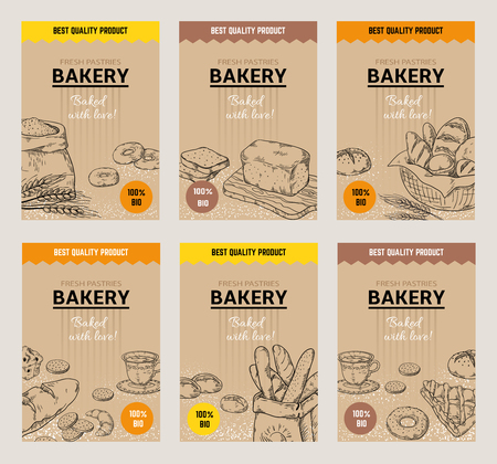 Carteles dibujados a mano de panadería. Plantilla de diseño de menú de pan vintage, galletas dulces y pasteles doodle sketch. Vector de harina de trigo orgánico sabroso panadería tradicional envasado Ilustración de vector
