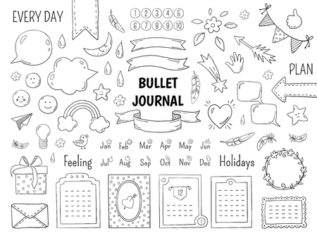 Notebook doodle bullet. Hand drawn diary frame, journal linear list borders and elements. Vector sketch doodle elements planner notes design scribbles  イラスト・ベクター素材