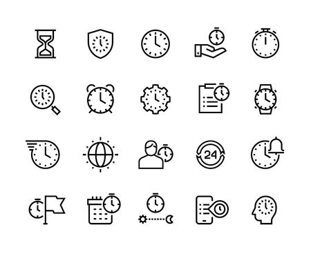 Time management line icons. Stopwatch, alarm and hourglass thin vector symbols. Timekeeping and business efficiency concept. Milestone schedule calendar work manage task employee success Vecteurs