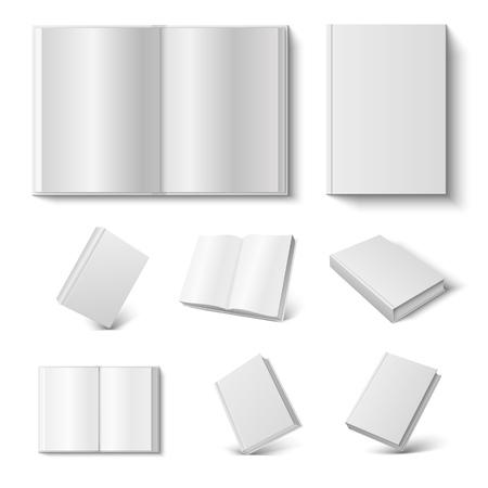 Libro realistico. 3d mock up diario aperto e chiuso con copertina rigida vuota su sfondo bianco. Illustrazione vettoriale prenotazione mock up magazine set