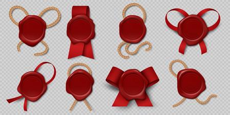 Cachet de cire. Timbres de certificat réalistes avec rubans et cordes, étiquettes d'enveloppe royale médiévales 3d. Modèle de lettre historique graphique de sceaux de cire rouge vide d'illustration vectorielle