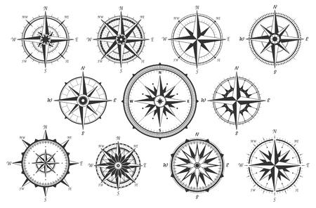 Róża wiatrów. Mapa kierunków vintage kompas. Starożytne morskie wiatr miara wektorowe ikony na białym tle. Na białym tle stary kompas nawigacyjny na morzu lub oceanie do oceanicznej lub morskiej kartografii retro, łodzi lub statku
